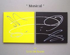 """Original Abstract Painting - Minimalist - Modern - Acrylic on Canvas  - """"Musical"""" - 12 x 24 on Etsy, $80.00"""
