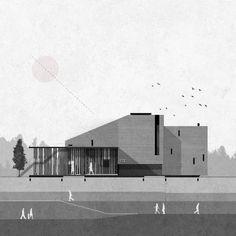 Austausch - Zean Macfarlane - www. Architecture Concept Drawings, Architecture Graphics, Architecture Visualization, Coupes Architecture, Architecture Plan, Presentation Board Design, Architecture Presentation Board, Architectural Section, Illustration