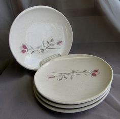 Franciscan Ware DUET Red Roses with Gray Speckled White LOT 4 Bread Butter Plate #Franciscan