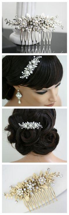 Bridal Comb Vine Leaf hair comb pearl rhinestone Wedding Hair Accessories GENOA DELUXE. By Lulu Splendor via Etsy.