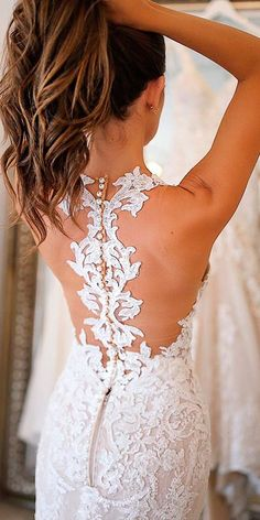 36 Lace Wedding Dresses That You Will Absolutely Love ❤️ lace wedding dresses backless with lace details sleeveless martina liana bridal ❤️ See more: http://www.weddingforward.com/lace-wedding-dresses/ #weddingforward #wedding #bride