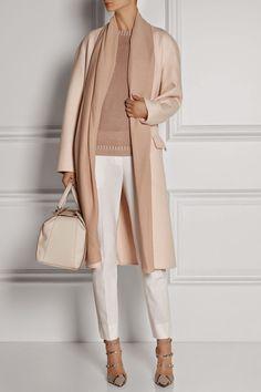 Desired: Bottega Veneta Felted Cashmere Coat in Ballerina Pink with Detachable Chiffon Scarf