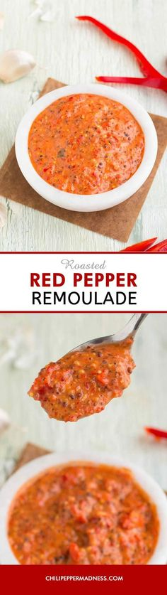A quick and easy Louisiana-style remoulade recipe made with rich roasted red peppers, perfect for crab cakes, seafood, vegetables, or drizzling over po boy sandwiches. Seafood Lasagna Recipes, Cajun Recipes, Shrimp Recipes, Cooking Recipes, Healthy Recipes, Drink Recipes, Healthy Meals, Healthy Food, Roasted Red Pepper Sauce