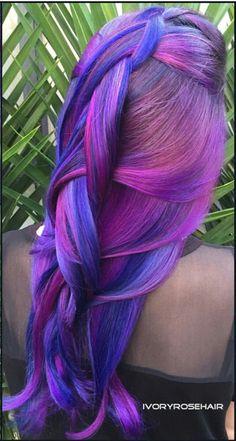 Blue pink dyed hair @ivoryrosehair