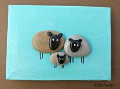 MTO 3 Little Sheep Lamb Family Nursery Animal Stone Pebble Art Painting Picture Made with Beach Finds by DengraDesigns on Etsy