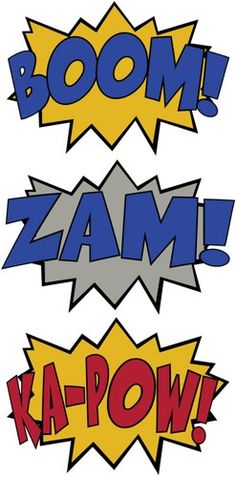 Wall Decals by Wilson Graphics 3 Comic Sound Effect Wall Decals Boom Zam Ka-Pow Style 2 Batman Party, Batman Birthday, Superhero Birthday Party, Boy Birthday, Anniversaire Wonder Woman, Comic Sound Effects, Spiderman, Mask Party, Hulk