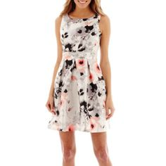 39.99 Studio 1® Sleeveless Floral Print Fit-and-Flare Dress  found at @JCPenney