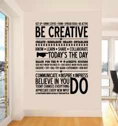 Click here to get the #BeCreative Wall Sticker for only R650 and be Inspired to inspire.  http://crazysexycool.co.za/shop/quotes/be-creative-wall-sticker
