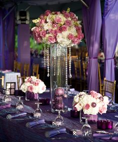 Tall Cylinder Main Centerpieces With Two Lower Cube Vases Vase Fl