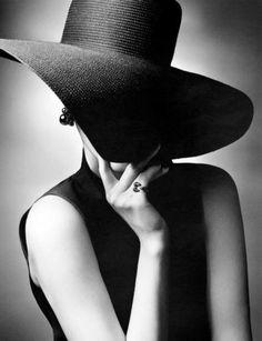 Wide brim black hat