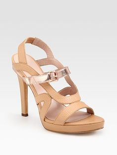 Rebecca Minkoff Leather and Metallic Leather Slingback Sandals