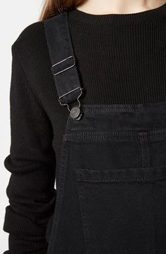 Topshop Moto Denim Overalls (Black) available at #Nordstrom
