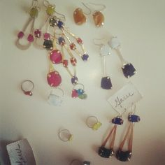 pigment infused resin stones, silver-filled and brass earrings and rings