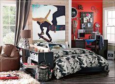 Cool Room Designs for Guys Should Match Their Character : Sporty Cool Room Designs For Guys Skateboard Poster Compact Furniture. Boys,Cool Room,Cool Room Decorations For Guys,Guys,Teenage Modern Teen Bedrooms, Teen Boy Rooms, Teen Boy Bedding, Teen Girl Bedrooms, Teen Boys, Camo Bedding, Pb Teen, Girl Rooms, Bedding Sets