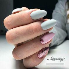matte light grey & matte pink with pink glitter in half moon Matte Pink, Pink Glitter, Nail Inspo, Nails Inspiration, Cute Nails, Nail Designs, Hair Beauty, Nail Polish, Make Up