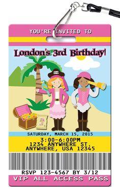 Pirate Girl Birthday Invitations