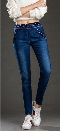 81852c406b2a Korean jeans Women Fashion High Waist Denim Pencil Pants Slim waist elastic  Women Jeans Denim Jeans