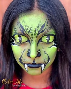 Animal Face Paintings, Animal Faces, Maquillage Halloween, Halloween Face Makeup, Vanessa Mendoza, Snake Face Paint, Monster Face Painting, Animal Makeup, Halloween And More