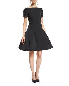 Short-Sleeve Structured Cocktail Dress, Black by Oscar de la Renta at Neiman Marcus.