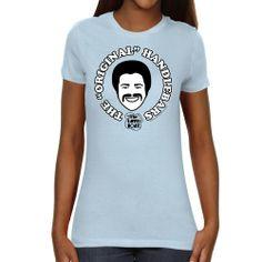 Love Boat Ladies Original Handlebars Slim Fit T-Shirt - Light Blue