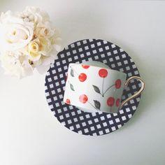 ギンガムチェック×チェリーのカップ&ソーサー♡