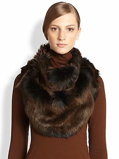 Donna Karan Long-Haired Shearling Cowl
