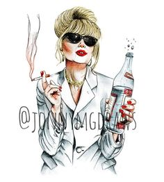 "Joanna Lumley as Patsy Stone ""Absolutely Fabulous"" A5 Portrait Print"