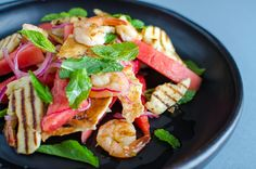 Hell yeah for haloumi, watermelon and prawn salad