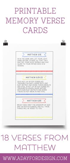 FREE Set of 18 Printable Memory Verse Cards from Matthew   Use these printable memory verse cards with the Charlotte Mason Scripture Memory System or in your own way to teach memory verses to kids.
