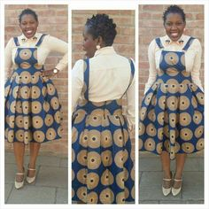The style is amazingly wow South African Dresses, African Fashion Skirts, African Print Dresses, African Print Fashion, Africa Fashion, African Attire, African Wear, African Blouses, Shweshwe Dresses