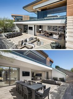 This modern house has an outdoor lounge and dining area that's located off the basement living room, making it an ideal place for entertaining friends. #OutdoorEntertaining #OutdoorSpace