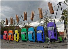 by a group called 'Generik Vapeur' - 'Hung Out to Dry' street art sculpture installation - Munster, Germany, 2011 Land Art, Art Environnemental, Street Art, Instalation Art, Urbane Kunst, Wow Art, Parcs, Outdoor Art, Art Festival