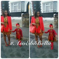 Momma & Daughter in Cute Red Ankara Print Dresses