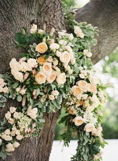Floral decor in trees