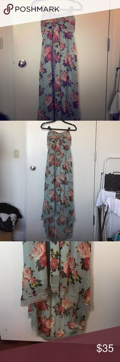 Garden floral chiffon dress Strapless dress with smocked back and removable spaghetti straps for easy wearing. Front is midi length and dips to maxi in the back. Vintage roses on mint ground. Betsey Johnson Dresses High Low