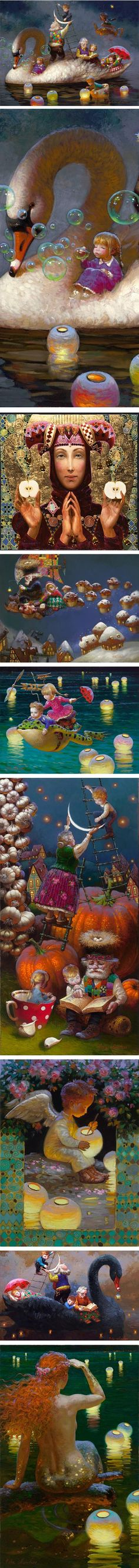 Victor Nizovtsev Victor Nizovtsev was born in Russia and studied at the Ilia Repin Collge for Art in Chisinau, Moldavia and the Vera Muhina University for Industrial Arts in St. Petersburg. He now lives in the U.S. in Maryland.  His paintings have some of the narrative character of Golden Age children's book illustration, and draw on influences from Art Nouveau,