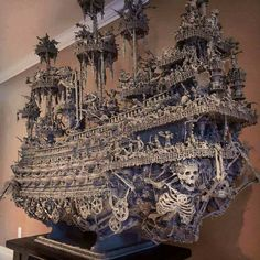 """Leviathan: an eight foot tall, seven foot wide assemblage sculpture """"ghost ship"""" / Boing Boing Ghost Ship, Assemblage Art, Model Ships, Skull Art, Wood Carving, Sculpture Art, Amazing Art, Awesome, Pirates"""