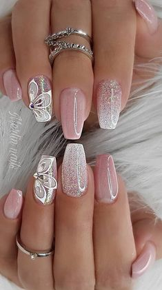 Really Cute Glitter Nail Designs! You Will Love This Part glitter nail a… Really Cute Glitter Nail Designs! You Will Love This Part glitter nail art; Bright Nail Designs, Pretty Nail Designs, Pretty Nail Art, Flower Nail Designs, Creative Nail Designs, Simple Nail Art Designs, Nail Designs Spring, Fancy Nails, Pink Nails