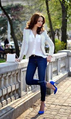 listras + jeans + sapato azul