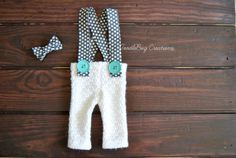 Newborn Photography Set  Upcycled Spring White Pants with Gray & White Poke A Dot Suspenders and Bow Tie by ToodleBugCreations, $26.50