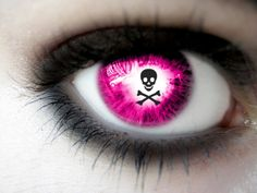 Kick Ass Pink Contact Lens With Skull In Itff