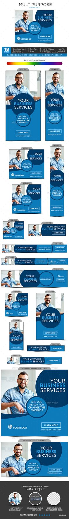 Buy Multipurpose Banners by Hyov on GraphicRiver. Promote your Products and services with this great looking Banner Set. Facebook Ad Size, Banner Template, Website Template, Vector Design, Web Banners, Photoshop, Templates, Fonts, Awesome