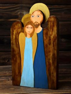 Personalized angel for a couple, double angel painted on wood, gift ideas Wooden Angel, Painting On Wood, Angels, Gift Ideas, Couples, Gifts, Presents, Romantic Couples, Gifs