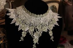 VICTORIAN CHOKER - Adjustable and Reversable Steampunk - Neo-Renaissance Romantic - TAMBOUR Lace - Jabot - 5 inches long