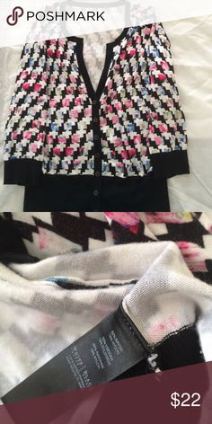 🍭2 FOR $40 WHBM Patterned Cardigan Super Soft and a little stretchy. 82% rayon, 18% nylon. White House Black Market Sweaters Cardigans