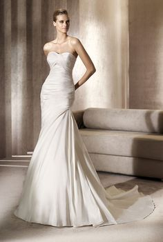 Alma, trumpet, fit and flare, ruching, strapless, sweetheart, taffeta, Madeleine's Daughter Bridal Inventory
