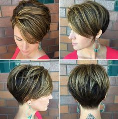 """hair_beauty-Long Layered Pixie With Highlights """"Dark Pixie with Top Layer Balayage With cute short haircuts, it's easier to commit to a partial b Short Layered Haircuts, Short Hairstyles For Women, Messy Hairstyles, Layered Hairstyles, Pixie Haircuts, Hairstyles 2018, Summer Hairstyles, Blonde Hairstyles, Fringe Hairstyles"""