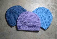 Crochet Newborn Caps. Super easy, super fast, super cute!