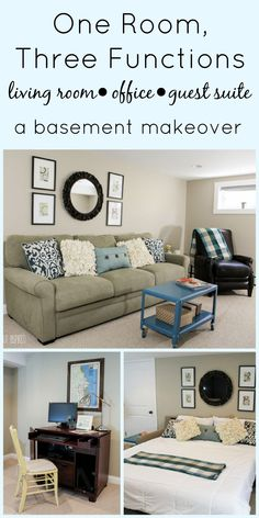 Make your small space work for you! A small basement got a BIG makeover and now functions as a beautiful living room, office, and guest suite! #basement #basementmakeover #basementbedroom #basementguestroom