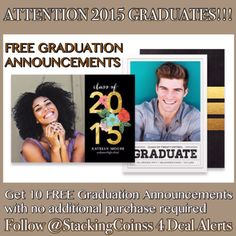 10 FREE 2015 Graduation Announcements for High School Graduates, College Graduates and Other Students (Preschool, Elementary School, Junior High School, Nursing School ...) - STACKING COINS SAVING MONEY [SCSM]